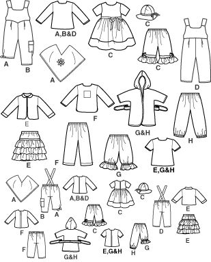 """Pattern for 15"""" doll clothes"""
