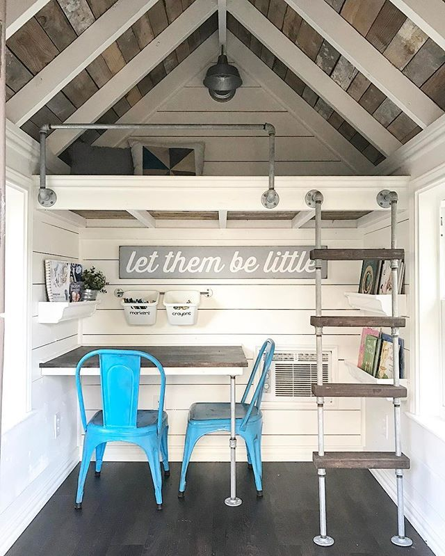 """Many of you have asked about the inside of the playhouse-here it is! Brad-the-Builder and I had SO much fun designing it! .  My eye always goes to the ceiling first. I love the white baby beams and pallet wood inlay. Brad surprised me with the inlay. It was one of those """"trust me"""" moments and I'm so glad I did. It's also on the underside of the loft and on the underside of the porch awning. This is the same wood we used to make the faux oven hood and mason jar chandy in the kitchen. This…"""
