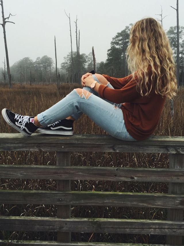 red sweater ~ ripped blue jeans ~ black s8 hi vans ~ aesthetic ~ photography idea