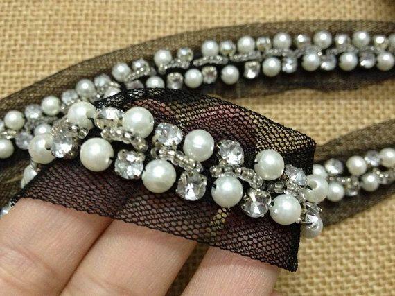 Ivory Beaded Lace Trim Crystal Rhinestone Beaded by prettylaceshop