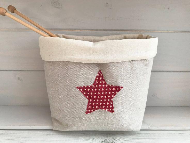 Star fabric basket, Toy storage, Fabric basket, Knitting basket, Hobby basket, Red stars, Gifts for her, Make up storage, Linen basket