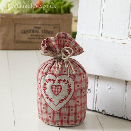 Hearts Barrel Door Stop-Embroidered heart