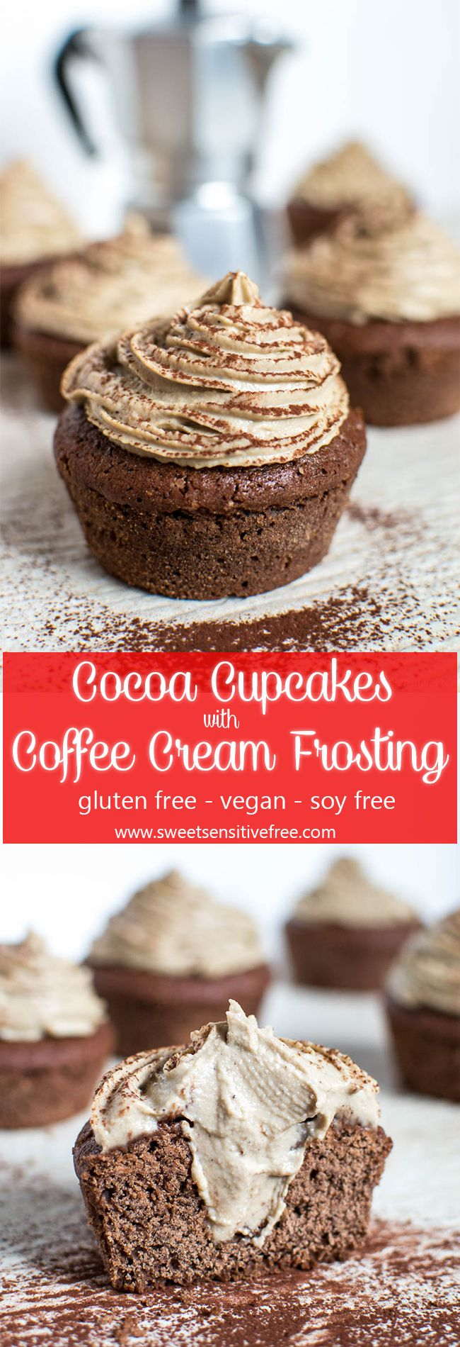 These scrumptious cupcakes are gluten free and 100% vegan, I've used aquafaba in the batter and the delicious coffee frosting is dairy-free too ;)