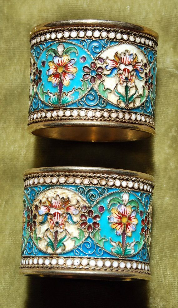 2 Silver Napkin Rings CLOISONNE Russian enamel 84 Antique Russia Flowers