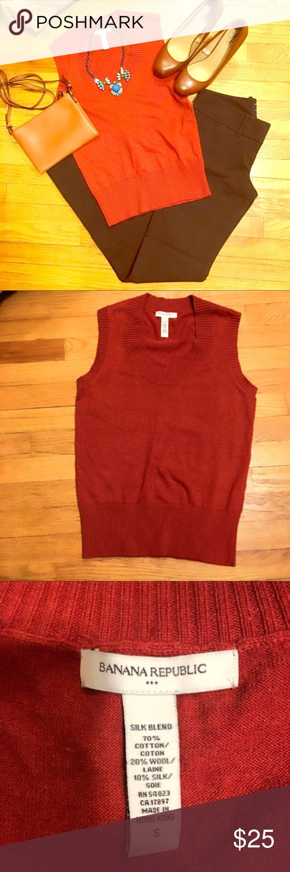 """🆕 Banana Republic Burnt Orange/Red Sweater Tank S 🆕New to the Closet🆕 Burnt orange/dark red sleeveless sweater tank. Size S from Banana Republic. Very soft and has the perfect amount of stretch. Overall length (flat) is 24"""", and 9"""" wide armhole. Silk blend- 70% cotton, 20% wool, 10% silk. Definitely to dry clean this baby unless you have some special powers I don't know existed. (Please share?) Retail: $59.50. [KL] Banana Republic Tops Tank Tops"""