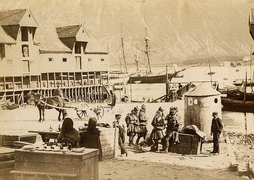 Sami people. Stortorget og Torghuken i Tromsø, ca. 1890. Norway.