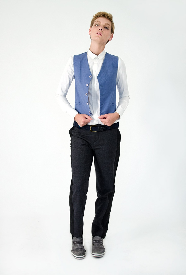 Blue Vest Androgynous Fashion Pinterest Blue Vests
