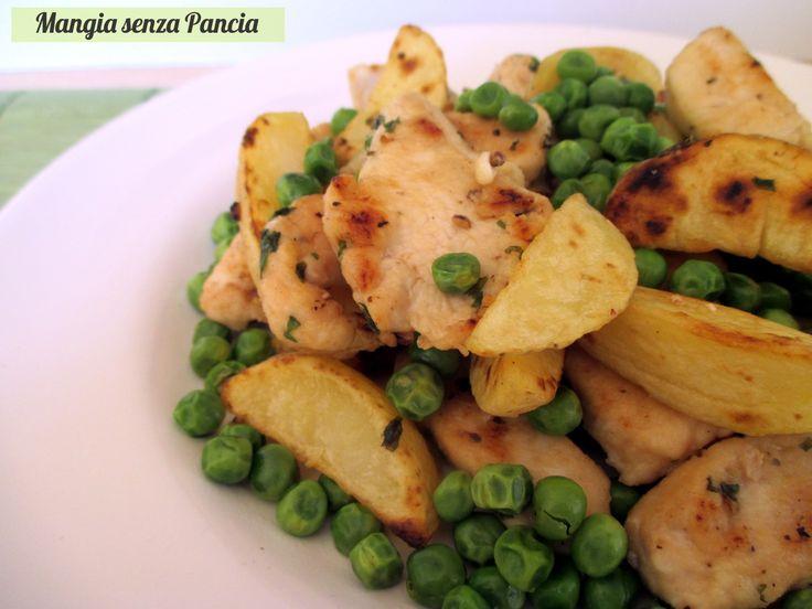 Pollo+con+patate+e+piselli+in+padella