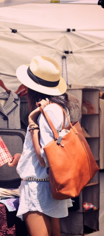 Spring / summer - street style - beach style - belted oversized shirt over shorts + panama hat + large bag