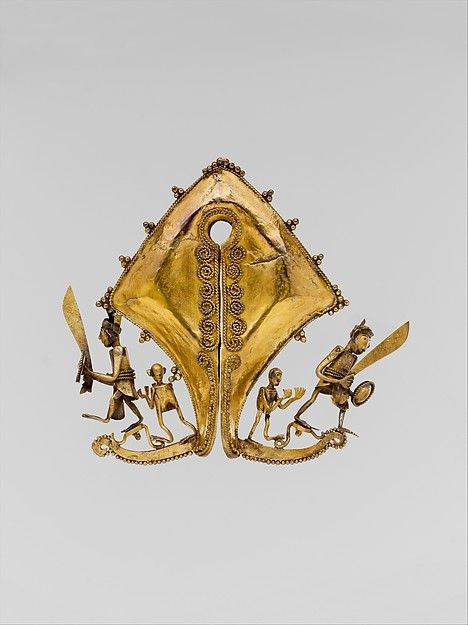 Ear Ornament or Pendant (Mamuli), Date: 19th century Geography: Indonesia, Sumba Island, East Nusa Tenggara, Culture: Sumba Island, Medium: Gold.-'Golden objects signify wealth and divine favor. Kept among the sacred relics housed in the treasuries of Sumbanese clans, mamuli serve, in part, to maintain contact with powerful ancestors and spirits.'