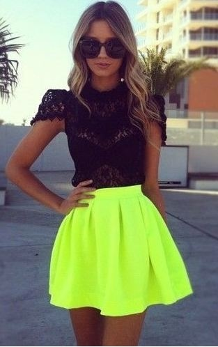 unexpected mood clash:  black lace w/ lime neon