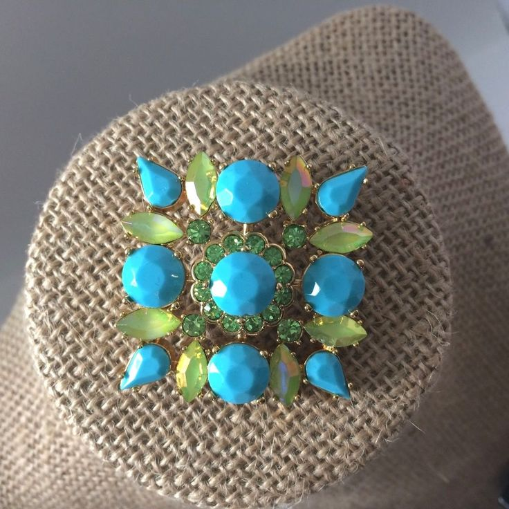 Joan Rivers Classic Collection Brooch Faux Turquoise Opaque Citrine Rhinestones #JoanRivers
