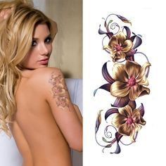 Waterproof Sexy Make Up Body Art Temporary Tattoo Stickers Chinese Orchid Flower Designs Tattoo