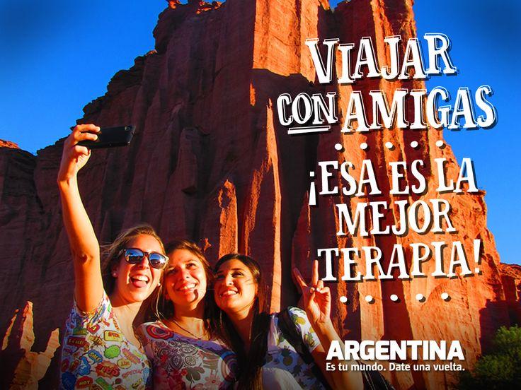 """""""Viajar con amigas ¡Esa es la mejor terapia!""""    Más info de #Viajes por #Argentina en: www.facebook.com/viajaportupais #ArgentinaEsTuMundo #Travel #frases #friends #amigas #turismo #escapada #turistas #viajes #maleta #experiencias"""