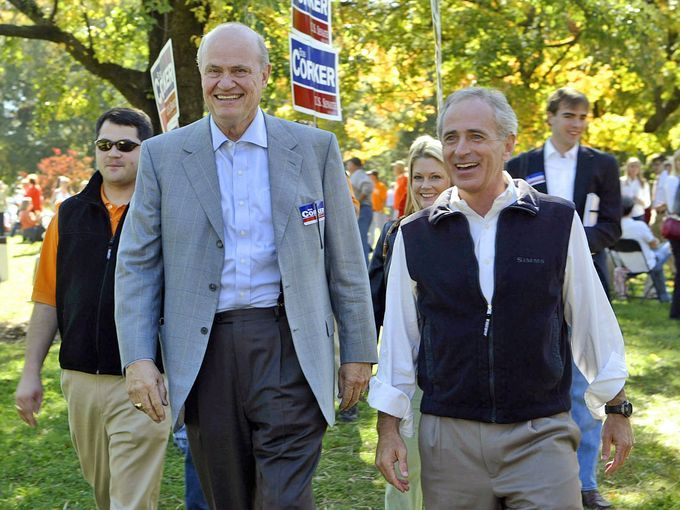 Republican Sen. Bob Corker, right, and former Sen. Fred Thompson, R-Tenn., walk together meeting people before Tennessee's football game against Alabama, Saturday, Oct. 21, 2006, in Knoxville, Tenn. during Corker's senate campaign against Democrat Harold Ford Jr.