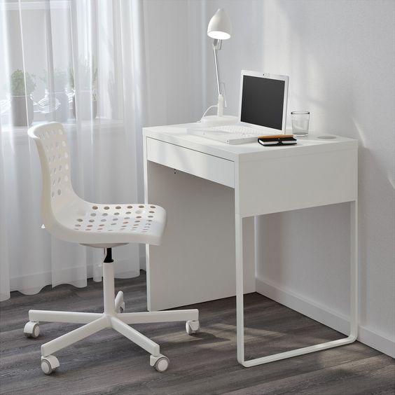 Narrow Computer Desk Ikea Micke White For Small Space Donnas Desk