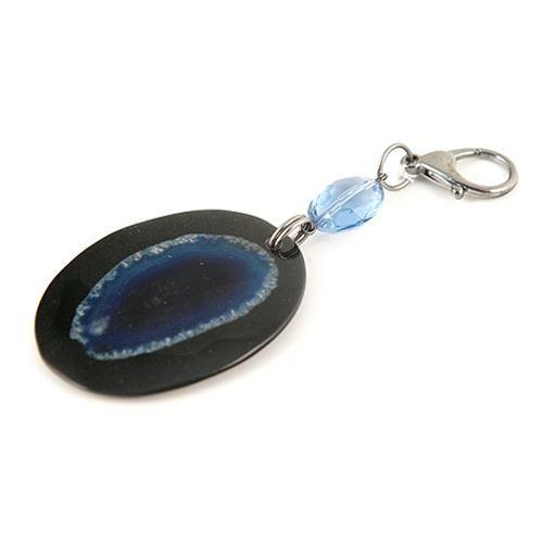 PORTACHIAVI AGATA  -  Elegante portachiavi con ciondolo in resina con inserto effetto geode blu. Lunghezza 11 cm. + moschettone.