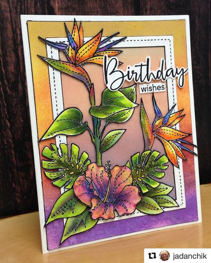 """This card looks like a sunrise.    Happy Thursday! #Repost @jadanchik  ・・・  My youngest turns 35 tomorrow so I pulled out the art supplies. You know...to save time and money!  It has been a crazy long time since I have created any art, so it took me for-ev-er to get started. It took even longer for me to pull it all together into a card. Let's not count the hours and leave it at """"A Marathon Event of epic proportions!""""  I really love the bright, summery, and tropical feel of the ca..."""