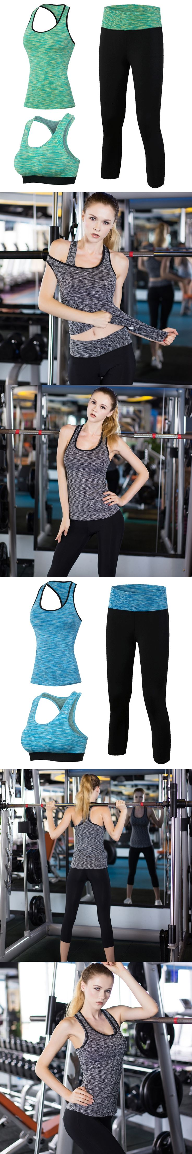 New 3pcs Sport Fitness Suit Women Yoga Sets Sleeveless Shirt Leggings Fitness Gym Running Sport Tights Vest and Pants Yoga set