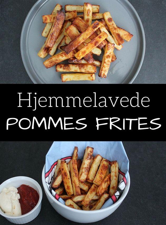 Sprøde og lækre hjemmelavede pommes frites, der laves i ovnen, så man slipper for at fedte rundt med friture og olie.