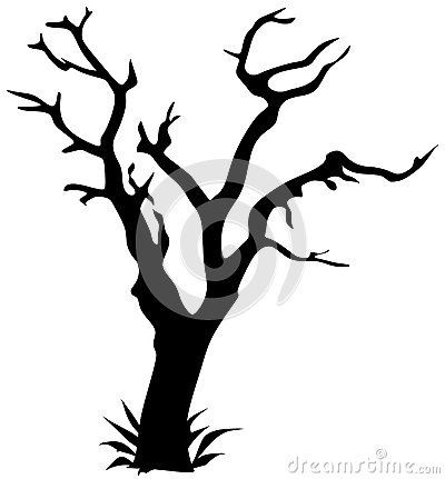 Vector drawing silhouette made of tree.