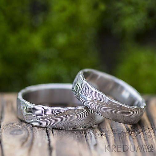 Snubní prsten nerezová ocel damasteel - Natura white