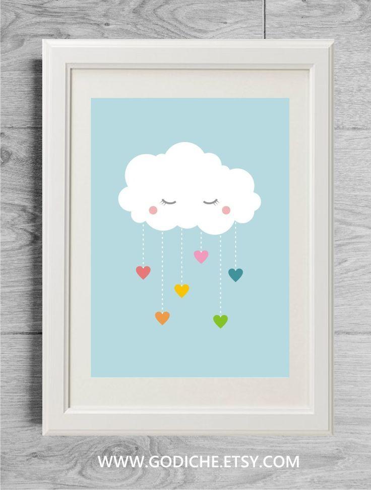 Affiche Arc En Ciel Nuage Et Coeurs Decoration Enfant Pastel