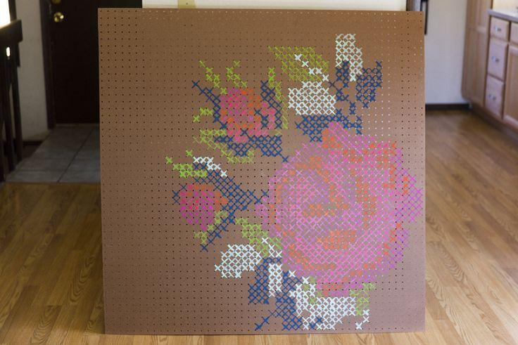 cross stitch peg board | DIY Cross Stitch Pegboard - DIY Craft Kits, Monthly Craft ... | DIY I ...
