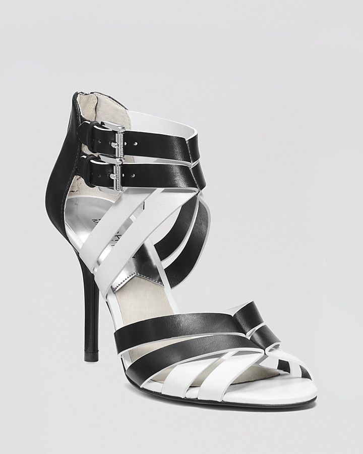 MICHAEL KORS CAMMIE BLACK/WHITE LEATHER OPEN TOE HEELS SANDALS SHOES SIZE 7  NEW #
