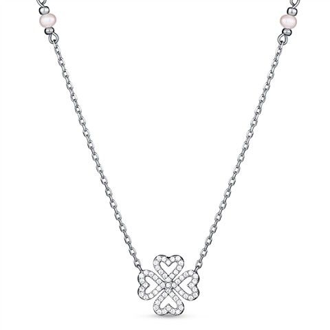 Enjoy good luck when you wear this Good Luck Sterling Silver Four Leaf Clover Pendant Necklace. This necklace features a four leaf clover charm, making it the perfect simple Sterling Silver Shamrock N