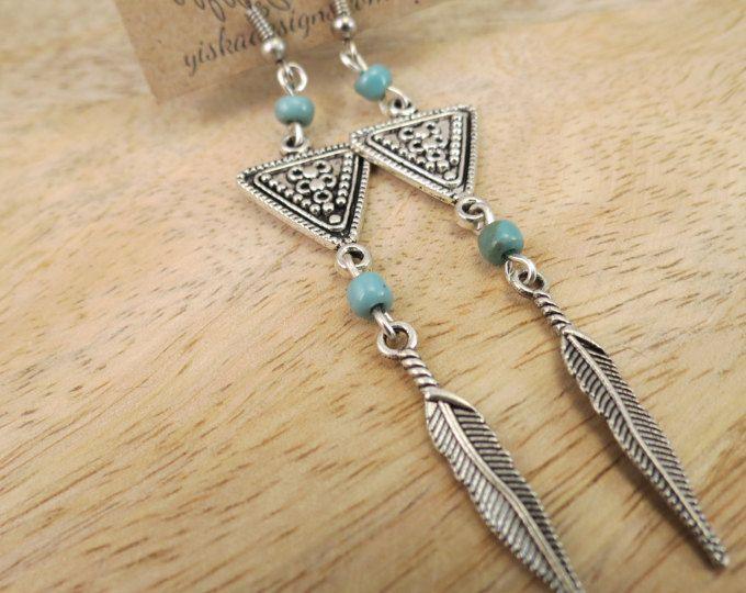 Long Boho Turquoise Feather Aztec Earrings | dangle earrings, charm earrings, turquoise bead earrings, long earrings, boho earrings