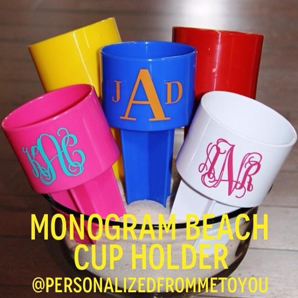 Monogrammed Beach Cup Holders