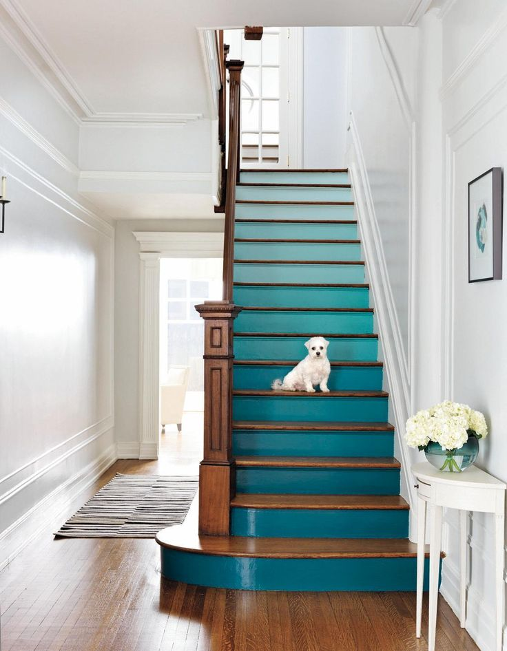 By: Nicole Sforza Enhance your entryway with these creative techniques … Ombré Paint Job Choose consecutive colors on the same paint strip. For the stairs on the opening page, we used five shades, on three stairs apiece. A small, angled brush is best for edges; use a larger brush to fill in. From top: Icing on the Cake, Forget Me Not, Spectra Blue, Peacock Blue, Teal Ocean, $16 a quart, benjaminmoore.com for stores.