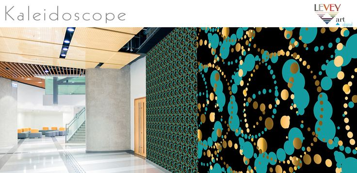Green Kaleidoscope Digital Custom Wallcovering from Levey
