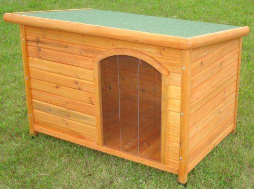 Aus der Kategorie Hundehütten  gibt es, zum Preis von   Dies ist eine sehr robuste und sauber gefertigte Hundehütte mit Flachdach zum Öffnen mit sehr guten Scharnieren mit Feststeller.  <br> Die Hundehütte ist wetterfest imprägniert und das Dach ist mit grün besandeter Dachpappe wasserdicht geschützt. An den Füssen sind zusätzlich noch Kunststoff-Schutzkappen für lange Lebensdauer angebracht.  <br> Gr. ca. 86 x 58 x 58 cm, wird im Karton zerlegt verschickt. Es sind keine Lamellen an der…