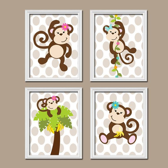 Girl Monkey Jungle Theme Tree Vine Flowers Polka Dot by trmDesign, $37.00