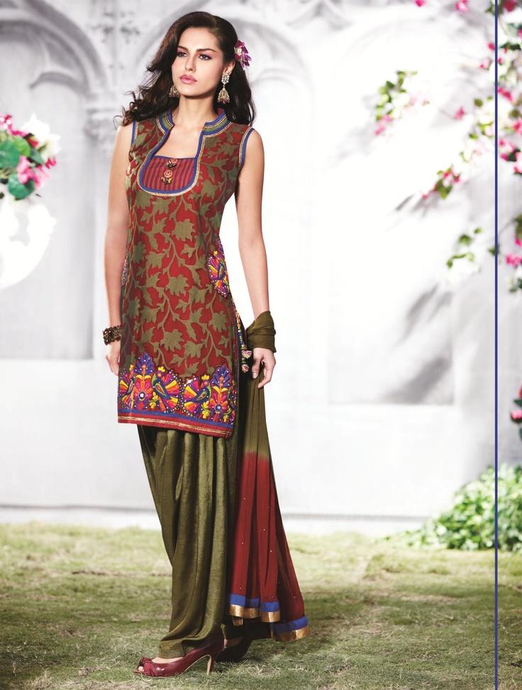 Green Cotton Short Punjabi Salwar Kameez 15535 | Party ...