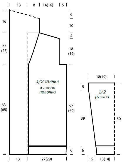 Схема вязания удлиненный теплый жакет с воротником-шалькой раздел вязание спицами для женщин кофты спицами женские