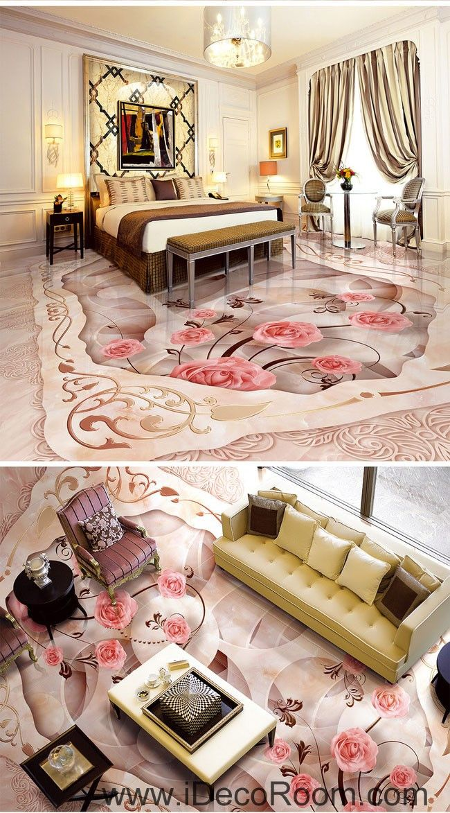 pink rose carpet shape floor decals 3d wallpaper wall mural stickers print art bathroom decor