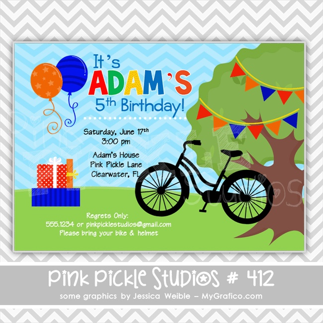 Boy Bike Personalized Party Invitation-personalized invitation, photo card, photo invitation, digital, party invitation, birthday, shower, announcement, printable, print, diy,bike, park, bicycle