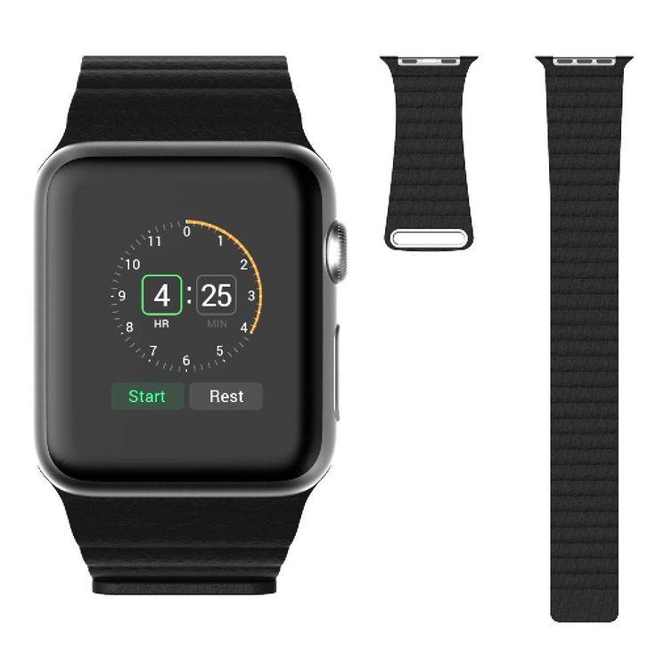 Leder Schlaufen-Armband magnetisch, schwarz für Apple Watch Series 1, 2 & 3