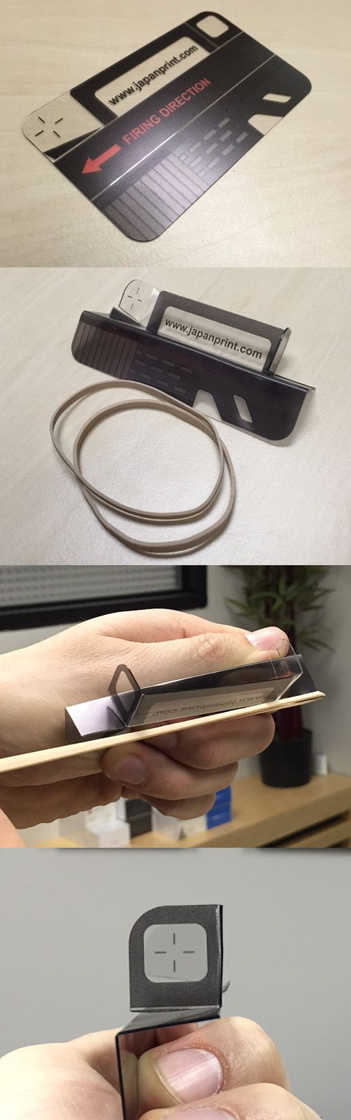Clever 3D Plastic Folding Business Card Becomes A Rubber Band Shooter