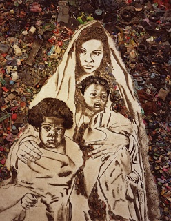 Vik Muniz photograph translated into recyclable materials