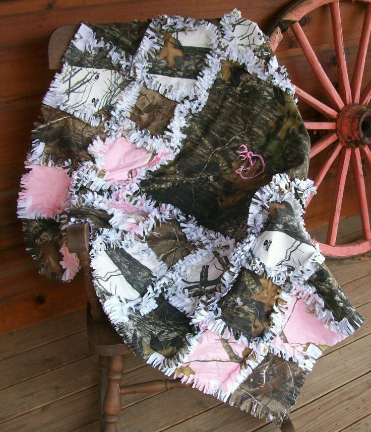 Mossy Oak Real Tree Camo Browning Rag Quilt Blanket Throw. $75.00, via Etsy.