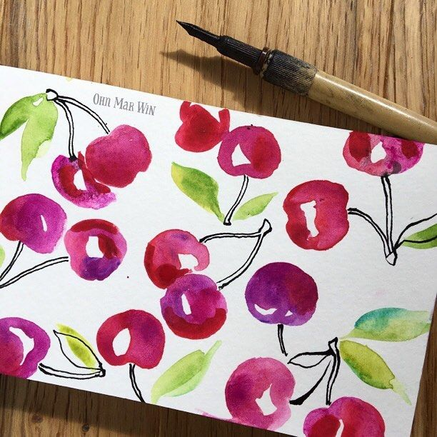 Myself and the kids are getting excited for cherry picking season. Watch the time lapse of this and materials used in previous post #ohnmarwin #sketchbook #sketchaday2017 #moleskine #winsorandnewton #artdaily2017  #365daysofpaint #30minutesketch #ohnmarskillshare  #calledtobecreative #creativityfound #illustrationartist  #becreative #getcreative #dscolor #abmlifeiscolorful #flashesofdelight #persuepretty #creativewomen  #creativeprocess #illustratorsoninstagram  #printandpattern…