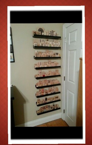 Rubber stamp storage on ribba ikea picture ledges