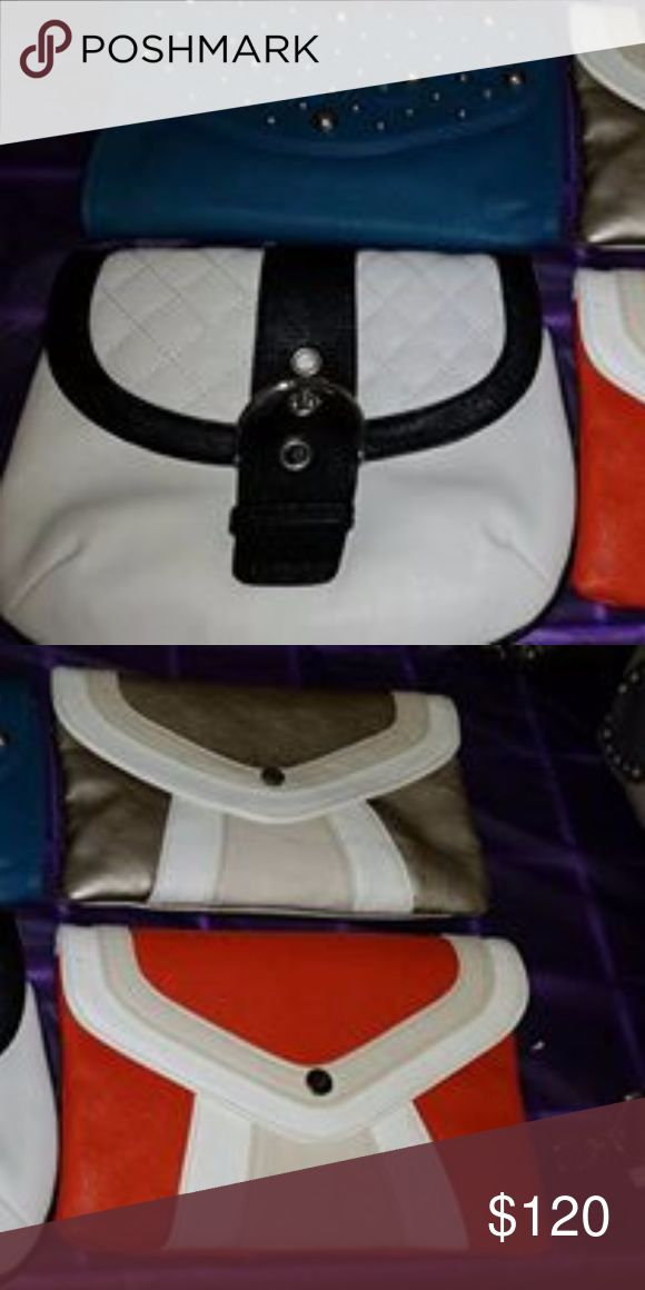Grace Adele Clutches 4 New Grace adele clutches. Were used for display purposes. All are clean. Include shoulder strap.  can be worn as small crossbody. price includes all 4 clutches grace adele Bags Clutches & Wristlets