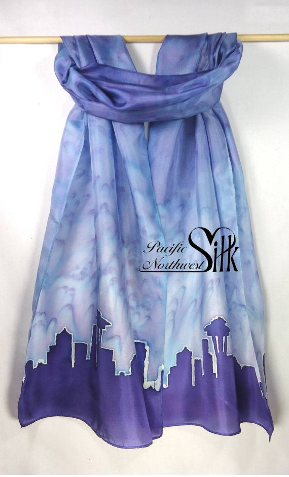 Seattle Skyline on a Handpainted Silk Scarf by PacificNorthwestSilk