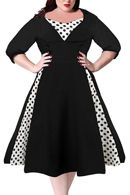 2186028335c Nemidor Women s Half Sleeves 1950s Vintage Style Plus Size Swing Dress at Amazon  Women s Clothing store