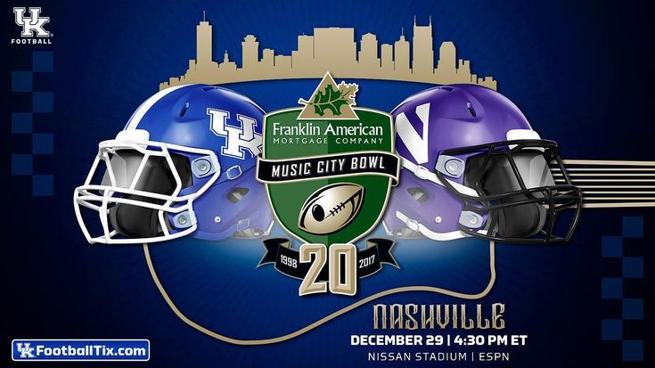 It's official! The Wildcats are headed back to Nashville! Kentucky has accepted a bid to play in the Franklin American Mortgage Music City Bowl and will take on Northwestern on Dec. 29 at 4:30 pm ET! For Tickets go to: ukfootballtix.com. #BBNashville